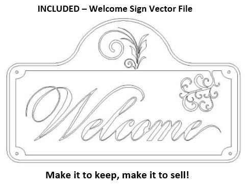 Welcome Sign Vector File For CNC Routers
